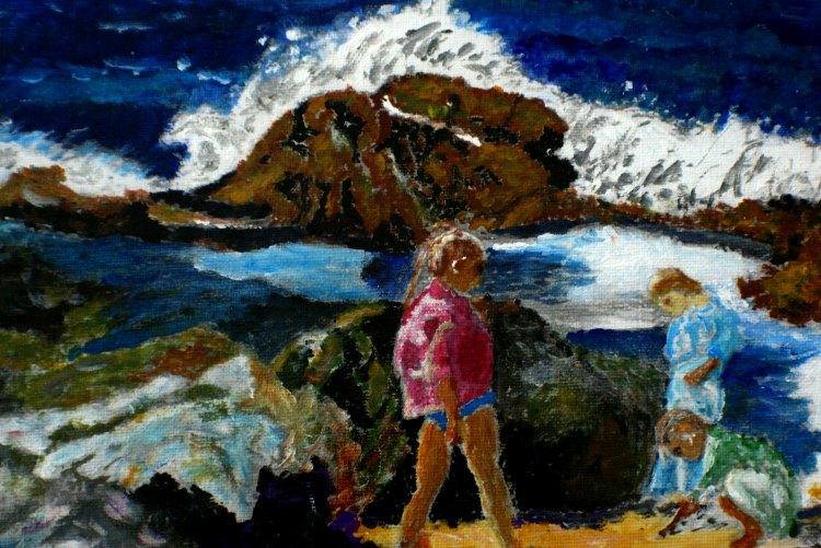 Vrolijke schilderijen met mensen op het strand
