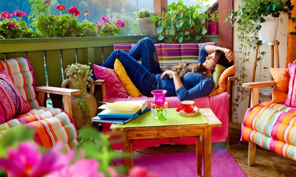 Tuinbank in de achtertuin